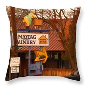 60's Maytag Washer Woman Throw Pillow