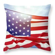 American Flag 55 Throw Pillow