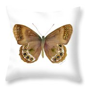 64 Woodland Brown Butterfly Throw Pillow by Amy Kirkpatrick