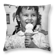 Girl With Ice Cream Cone Throw Pillow