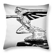 1935 Packard Hood Ornament -0295bw Throw Pillow