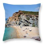 Beach In Legrena Throw Pillow