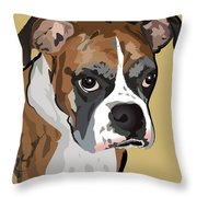 Boxer Dog Portrait Throw Pillow by Robyn Saunders
