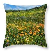 California Poppies Eschscholzia Throw Pillow