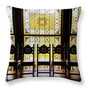 7 Chairs And Stained Glass Throw Pillow