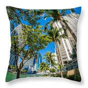 Downtown Miami Brickell Fisheye Throw Pillow