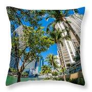 Downtown Miami Brickell Fisheye Throw Pillow