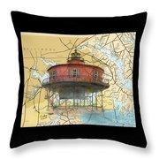 7 Ft Knoll Lighthouse Md Nautical Chart Map Art Cathy Peek Throw Pillow