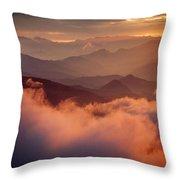 Golden Sunset Himalayas Mountain Nepal Throw Pillow