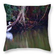 Great White Heron At Waters Edge Throw Pillow