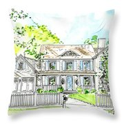 House Rendering Throw Pillow