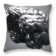 Metallic Brain Throw Pillow
