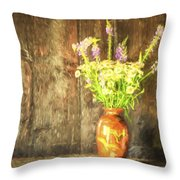 Monet Style Digital Painting Retro Style Still Life Of Dried Flowers In Vase Against Worn Woo Throw Pillow
