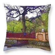 Near Entrance To Hindu Temple Of Mattan Throw Pillow