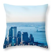 New York City Manhattan Midtown Aerial Panorama View With Skyscr Throw Pillow