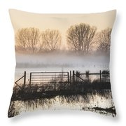 Panorama Landscape Of Lake In Mist With Sun Glow At Sunrise Throw Pillow