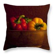 Peppers Still Life Close-up Throw Pillow