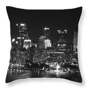 Pittsburgh Skyline At Night Throw Pillow