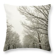 Snow Covered Road And Trees After Winter Storm Throw Pillow
