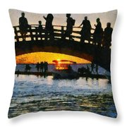 Sunset In Lefkada Town Throw Pillow