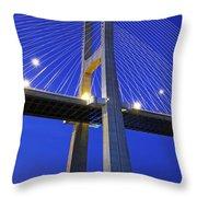 Vasco Da Gama Bridge In Lisbon Throw Pillow