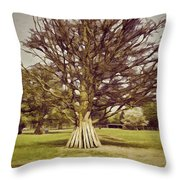 Vehicles Moving Through The American Bison Area Throw Pillow