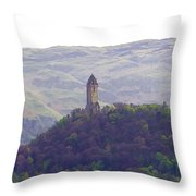 View Of Wallace Monument From The Heights Of The Stirling Castle Throw Pillow