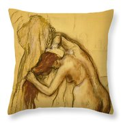 Woman Drying Herself Throw Pillow