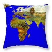 Modern World Map  Throw Pillow