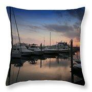 Yachts At Sunset Throw Pillow
