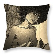 70s Chic Sepia Throw Pillow