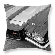 71 Camaro Z28 In Black And White Throw Pillow