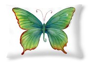74 Green Flame Tip Butterfly Throw Pillow