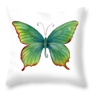 74 Green Flame Tip Butterfly Throw Pillow by Amy Kirkpatrick