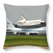 747 Carrying Space Shuttle Throw Pillow