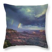749220049 Double Rainbow Cape Royal North Rim Grand Canyon National Park Throw Pillow