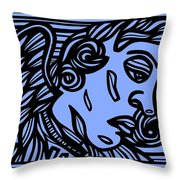 Bouthillette Angel Cherub Blue Black Throw Pillow