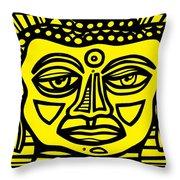 Jakubek Buddha Yellow Black Throw Pillow