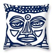 Trivane Buddha Blue White Throw Pillow
