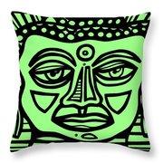 Cleark Buddha Green Black Throw Pillow