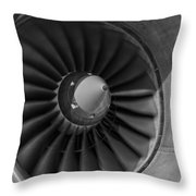 757 Engine Black And White Throw Pillow