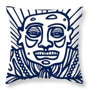 Frisby Buddha Blue White Throw Pillow