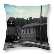 760 Train Engine Passing The Station Sc Textured Throw Pillow
