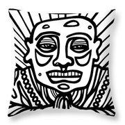 Lorton Buddha Black And White Throw Pillow