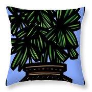 Kisiel Plant Leaves Green Black Throw Pillow