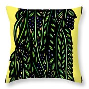 Allison Plant Leaves Blue Green Throw Pillow
