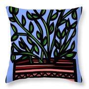 Sako Plant Leaves Red Green Blue Throw Pillow