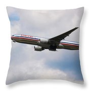 777 American Airlines Throw Pillow