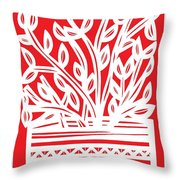 Kimbrell Plant Leaves Red White Throw Pillow