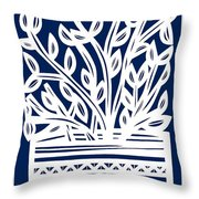 Stearne Plant Leaves Blue White Throw Pillow